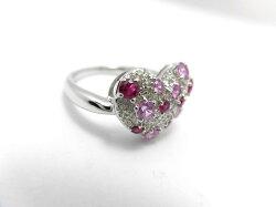 K18WGダイヤルビーサファイアリングF9457/D0.3ctR0.3ctS0.33ct/ダイヤモンドリング/指輪/ゆびわ/ring/ジュエリー/ダイヤ/女性用/レディース/プレゼント/ギフト/お買い得/オススメ/送料込み/宝石