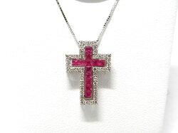 K18WGルビーダイヤクロスネックレス/ネックレス/ねっくれす/ジュエリー/女性用/レディース/プレゼント/ギフト/お買い得/オススメ/送料込み/宝石