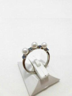 Ptアコヤ真珠サファイアリング/真珠3.9mm3ピース/サファイア0.35ct/R-703/