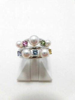 K18WGアコヤ真珠カラーストーンリング/真珠3.8〜5.3mm5ピース/カラーストーン5石/R-530/