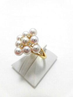K18アコヤ真珠ダイヤ入りリング/真珠4.4mm9ピース/ダイヤ0.08ct/RGM-003