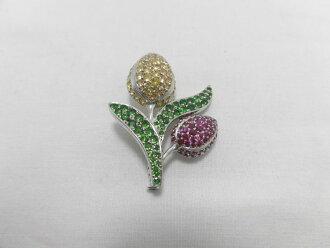 供K18WG黄色蓝宝石红宝石绿色石榴石/YS1.92ct红宝石1.28ctGG1.31ct/胸针/胸针/珠宝/女性使用的/女士/礼物/礼物/划算的/推荐/邮费包含/宝石