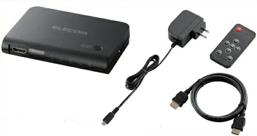 【送料無料】エレコム HDMI切替器 3入力:1出力 リモコン付き 4K出力 MHL対応 プレビュー機能搭載 ブラック DH-SWP31BK