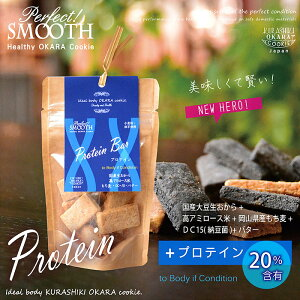 機能性クッキー『プロテインバー』パーフェクト!スムーズ 国産生おから・高アミロース米・もち麦・DC-15 糖質の吸収がゆっくり、血糖値の急上昇を抑制、腸内環境を整える バター入りで