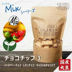チョコチップ3種 倉敷おからクッキー (ストロベリーチョコ、レモンチョコ、キャラメルチョコのミックス)