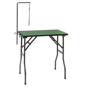 【純国産折りたたみ式テーブル】トリミングテーブル グリーンST 万力式アーム付 (W750×D450×H775mm)【サロン】【人気】