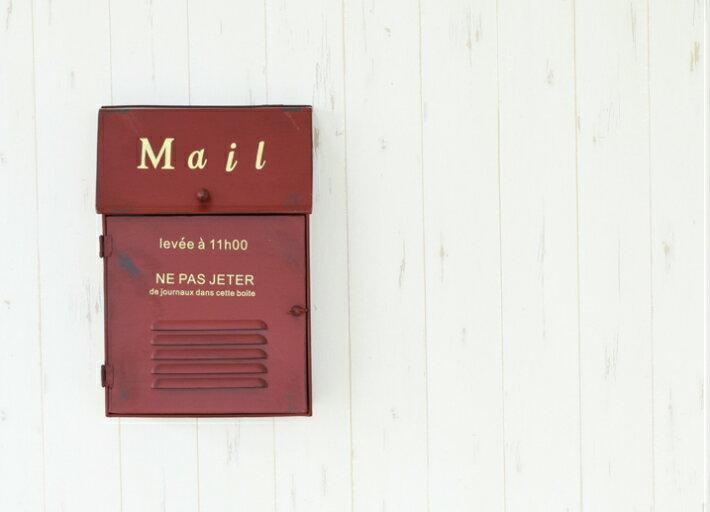 メタルスリムポスト レッド アイアン ポスト メールボックス 郵便ポスト 壁掛けポスト アンティーク風ポスト 赤 お祝い 新築祝い