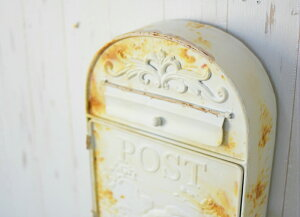 アウトレット 訳あり メールボックス ホワイト アンティーク調 ポスト 壁掛けポスト