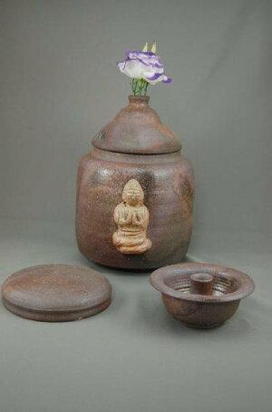 C-3輝光窯変大長仏阿弥陀如来座像付き3変化花器壺骨壷7号壺としてお花を生けて楽しむ。お花を生けるときは仏様は後ろに向けて!