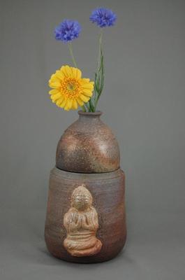 C-5輝光窯変小長仏3変化花器壺阿弥陀如来座像付き骨壷5号壺にお花を生けて楽しむ