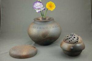 D-3輝光窯変大丸3変化花器香炉付き骨壷7号花器としてお花を生けて楽しむ