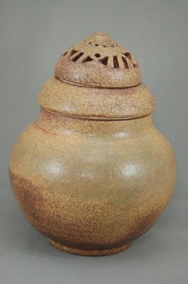 G-3伊羅保釉大丸3変化香炉花器付き骨壷7号花器としてお花を生けて楽しむ