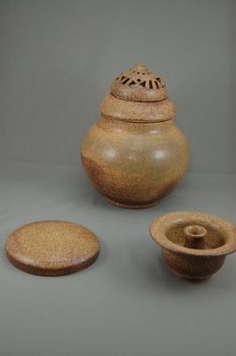 G-3伊羅保釉大丸3変化香炉花器付き骨壷7号