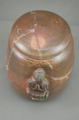 焼締大長仏2変化花器壺付き骨壷阿弥陀如来座像付き7号