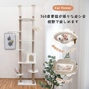 キャットタワー 大型猫 爪とぎ おもちゃ ハウス 据え置き 多頭飼い 麻紐 透明宇宙船 TX-166