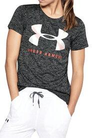 SALE●アンダーアーマー テックグラフィックツイストクルー(トレーニング/Tシャツ/WOMEN)[1309897]001