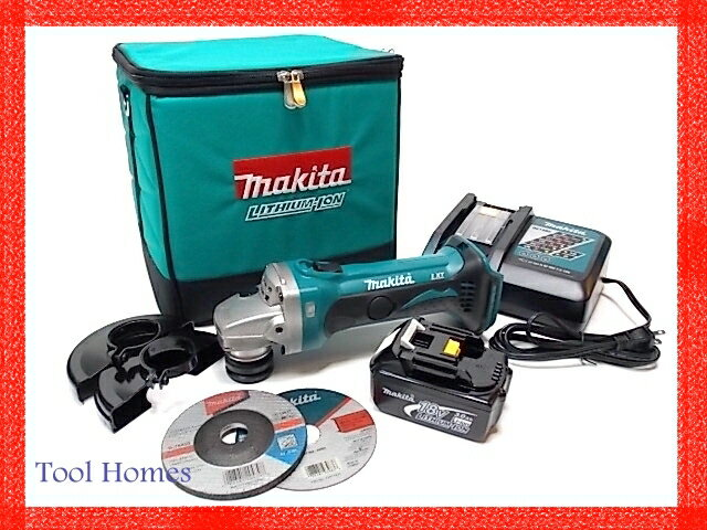 マキタ 18V 充電式 ディスクグラインダー 4点セット/サンダー/コードレス/リチウムイオンバッテリー/蓄電池/リチウムイオン電池