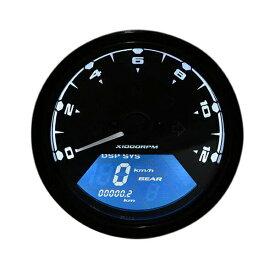 送料無料 バイク用 多機能 デジタルスピードメーター タコメーター LCDモニター 燃料計 走行距離 ギア表示 機能付 12000RPM アナログタコメーター