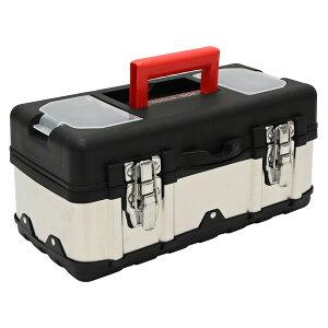 送料無料 ツールボックス ステンレス プラスチック ハイブリッド 工具箱 パーツケース 収納ボックス ブラック シルバー 道具箱 インナートレー 付