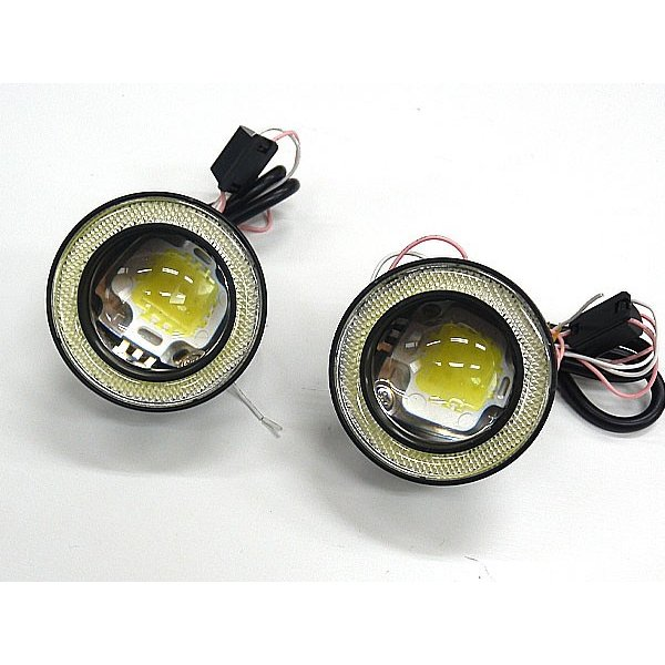 送料無料 LED フォグランプ イカリング デイライト 汎用フォグ ホワイト サイズM 3インチ 2個セット LED COB