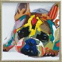 油絵 額装 肉筆絵画 オイル ペイント アート「カラフル ブルドッグ(Mサイズ)」OP-18026-新品