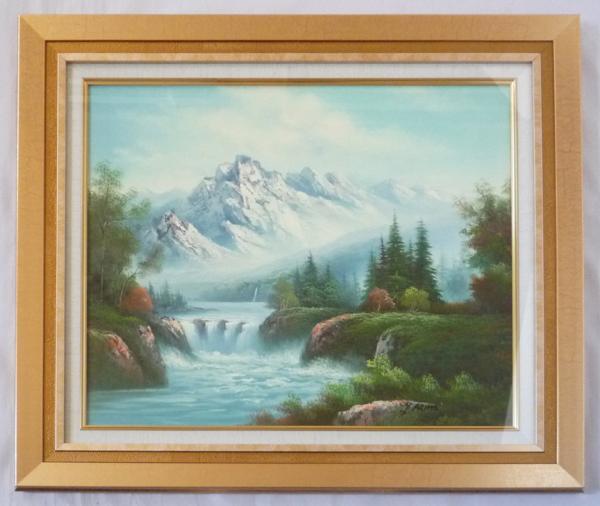 額装油絵 肉筆絵画「山水風景 アルプス」- F10 -116-新品 -特価品