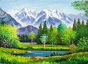 油絵 肉筆絵画 F20サイズ 「上高地」 羽沢 清水 木枠付 -新品