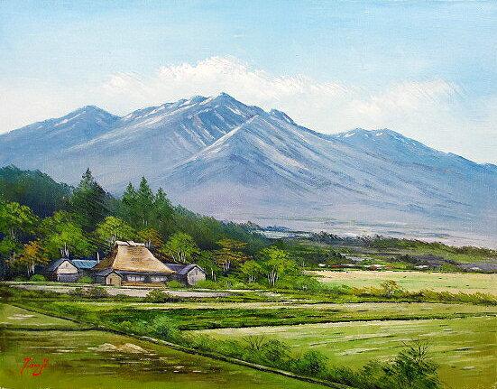 油絵 肉筆絵画 F4サイズ 「八ヶ岳山麓」 辻 京子 木枠付 -新品