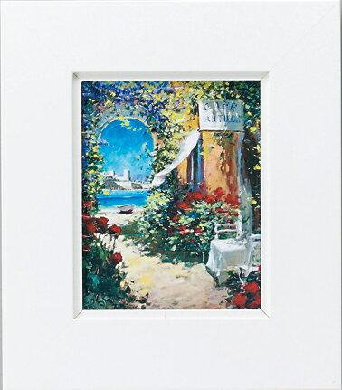 額縁付き 絵画 アートフレーム マルコ マヴロヴィッチ「潮風そよぐカフェ」 MM-02504-新品