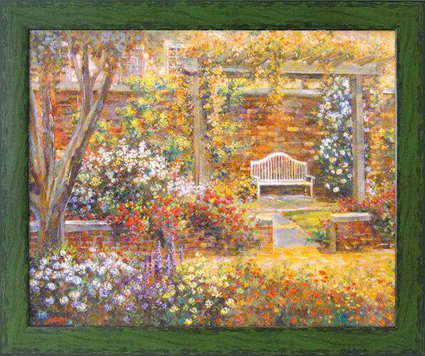 額縁付き 絵画 アートフレーム ロンゴ「パティオ ガーデン2」 LO-20004-新品