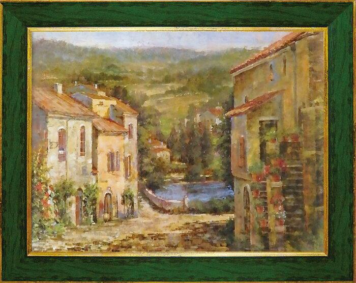 額縁付き 絵画 アートフレーム ロンゴ「コブル ストリート」 LO-23001-新品
