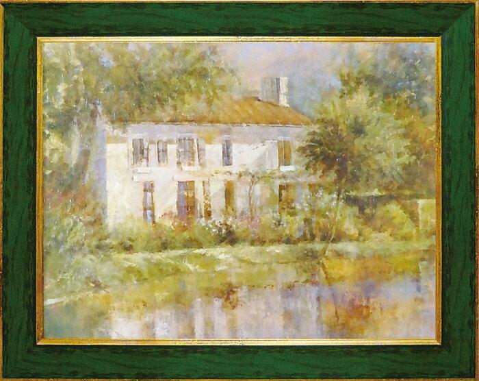 額縁付き 絵画 アートフレーム ロンゴ「スプリング リフレクション」 LO-23002-新品