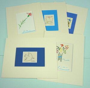 マット付ポストカード(ピカソ・ミロなど) インチ版-多種5枚セット-特価品