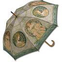 名画 木製ジャンプ傘 ミュシャ「蔦と夢想」 AU-02205 雨傘 名画コレクション-新品