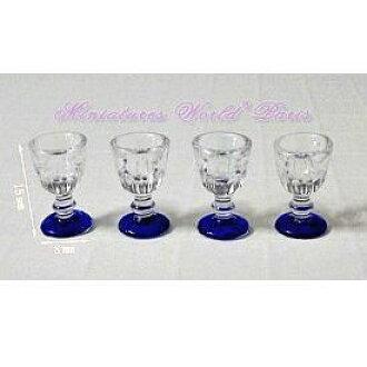 Miniature gadgets plastic champagne glass foot blue 4 PCs set [MWDG4], [m-s]