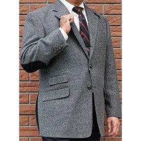 秋冬ツイードジャケット グレー エルボーパッチ 英国調 段返り3つボタン 【チェンジポケット付】 メンズ ブレザー OXFORD CLASSIC 0718 A3 A6 A7 A8 AB4 AB7 AB8
