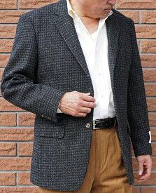 秋冬 ハリスツイード ジャケット 黒 千鳥格子 2つボタン 【高級素材】【ウール100%】 メンズ ブレザー 2509 A8 AB3
