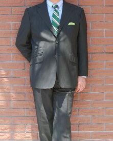 春夏 2パンツスーツ 黒 ストライプ 段返り3つボタン OXFORD CLASSIC 英国調 【チェンジポケット付】【高級素材】 メンズ スーツ 1509 A3 A4 AB3