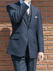 春夏秋 スリーピース 紺 ウインドペンチェック 英国調 段返り3つボタン 【チェンジポケット付】【ベスト抜き可】 メンズ ビジネス OXFORD CLASSIC 0488 AB4 AB7
