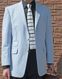 春夏 コードレーン ジャケット サックスブルー 段返り3つボタン 【チェンジポケット付】【綿混】【ストレッチ】 メンズ カジュアル OXFORD CLASSIC 0580 A5 A6 A7 A8