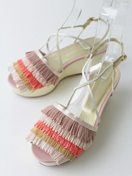 TSUMORI CHISATO ツモリチサト 厚底 フリンジ サンダル 23.0*靴【ピンク】【ウェッジソール】【ヒール】【nsg】*高価買取中* 【2400010104978】【中古】