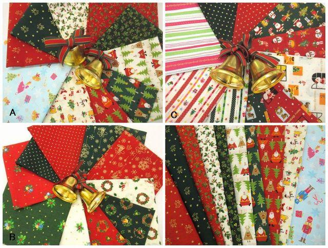 【特価布地 はぎれ生地】 クリスマス柄 カットクロス 10枚セットA 、B、C 3種類 CH13