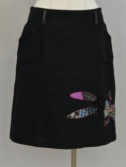 Al vero vero ALBEROBELLO オレボレブラ OLLEBOREBLA rabbit patchwork embroidery wool skirt black Lady's F-M10631180904