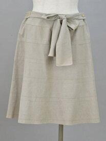 トゥービーシック TO BE CHIC リボン フェイクレザースウェード スカート 42サイズ ベージュ レディース F-M11059【中古】【ブランド買取販売トリヴァンドラム】180904