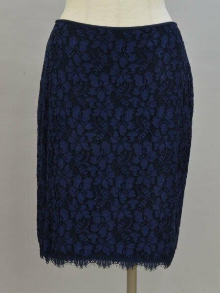ダイアンフォンファステンバーグ DIANE von FURSTENBERG レース花刺繍 スカート 6サイズ ネイビー レディース F-M10764【中古】【ブランド買取販売トリヴァンドラム】181104