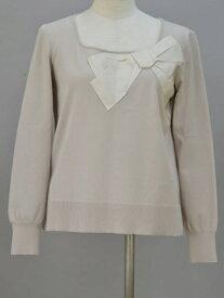 フォクシー FOXEY Sweater Square Ribbon リボン ニットセーター 38サイズ ベージュ レディース F-L5905【中古】【ブランド買取販売トリヴァンドラム】190207