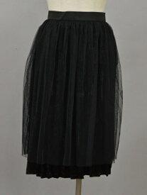 ジーナシス JEANASIS チュール&ベロア SPSK プリーツスカート Fサイズ ブラック レディース F-L6144【中古:新古品・未使用品】【ブランド買取販売トリヴァンドラム】191209