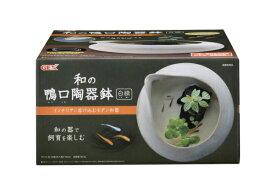 【在庫処分】 GEX 和の鴨口陶器鉢 白練 【熱帯魚・アクアリウム/鉢】