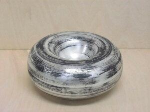【有田焼 李荘窯】黒銀彩ベーグル中空鉢