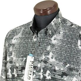 パジェロ■2020春夏■<丈長>ポリ薄手ボタンダウンシャツ(黒系)日本製